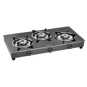 fa500a474 Padmini CS 3GT Crystal Cloud Crystal Black 3 Burner Gas Stove (Manual  Ignition)
