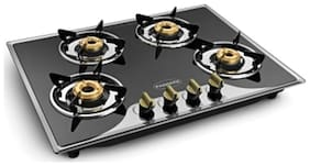 Padmini 4 Burners Stainless Steel Hob Top Gas Stove - Black , Auto Ignition