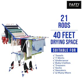 PAFFY Winsome-blue-white Polypropylene Foldable Floor Cloth Dryer ( Blue & White ,Maximum Load: 20 kg )