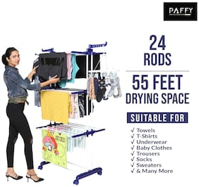 PAFFY Princejumbo-blue-white Polypropylene Foldable Floor Cloth Dryer ( Blue & White ,Maximum Load: 20 kg )