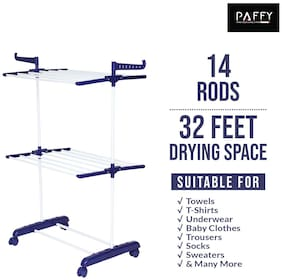PAFFY Compactjumbo-blue-white Polypropylene Foldable Floor Cloth Dryer ( Blue & White ,Maximum Load: 20 kg )