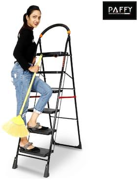 Paffy Premium Foldable Step Ladder;Clamber;6 Steps (Black & Orange)