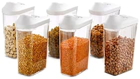 Palaki Online Services Cereal Dispenser Easy Flow Storage Jar 6 Pieces Set Lid Storage Containers for Kitchen 750 ml
