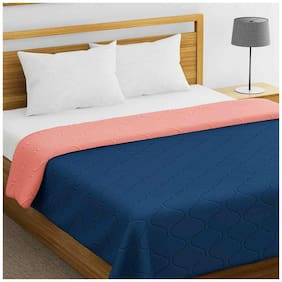 Palars London 200 GSM Microfiber Reversible AC Comforter Double Bed 90 x 100 Inch ( Navy Blue and Peach)