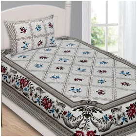 Palars London Cotton Floral Single Size Bedsheet 180 TC ( 1 Bedsheet With 1 Pillow Covers , Multi )