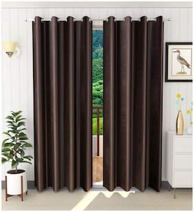 Palars London 2 Pc Heavy Long Crush Fabric Plain 7 Feet Eyelet Door Curtain