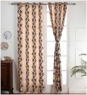 Palars London 2 Pc Long Crush Floral Print 9 Feet Eyelet Long Door Curtain