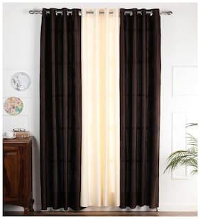 Palars London 3 Pc Long Crush Plain and Tree Design Printed Fabric 7 Feet Eyelet Door Curtain (2 Coffee + 1 Cream)