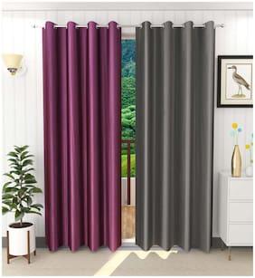 Palars London 2 Pc Heavy Long Crush Plain Fabric 8 Feet Eyelet Long Door Curtain (Color - Purple, Grey)