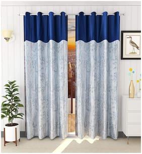 Palars London 2 Pc Long Crush Plain and Tree Design Heavy Fabric 9 Feet Eyelet Long Door Curtain