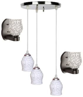 Pandent Three Hanging Ceiling Lamp Como With Two Matching Wall Lamp Of Colorful & Decorative Glass Shade-Do59