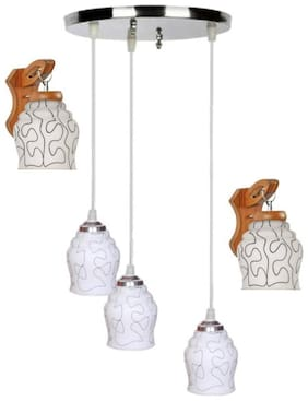 Pandent Three Hanging Ceiling Lamp Como With Two Matching Wall Lamp Of Colorful & Decorative Glass Shade-Do46