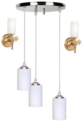 Pandent Three Hanging Ceiling Lamp Como With Two Matching Wall Lamp Of Colorful & Decorative Glass Shade-Do74