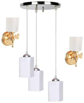 Pandent Three Hanging Ceiling Lamp Como With Two Matching Wall Lamp Of Colorful & Decorative Glass Shade-Do77