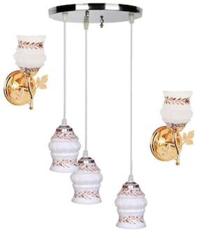 Pandent Three Hanging Ceiling Lamp Como With Two Matching Wall Lamp Of Colorful & Decorative Glass Shade-Do54