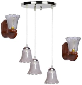 Pandent Three Hanging Ceiling Lamp Como With Two Matching Wall Lamp Of Colorful & Decorative Glass Shade-Do43