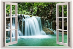 Paper Plane Design 3D Wall Window Vinyl Sticker Wallpaper Beautiful Waterfall View