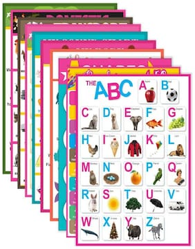 Paper Plane Design Kids Educational Set of 10 Poster A3 (12 in x 18 in Size) Unframed Thick Paper with Tape