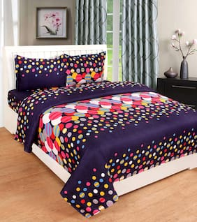 Paramorasi 140 TC Poly Cotton Double Bedsheet with 2 Pillow Covers