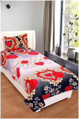 Paramorasi 140 TC Poly Cotton Single Bedsheet with 1 Pillow Cover