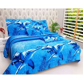 Paramorasi Super 3D Printed Poly Cotton 140 Tc Double Bed Sheet With 2 Pillow Covers