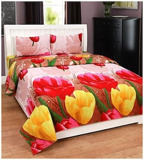 Paramorasi 100 - 149 3D Printed Flat Double Bedsheet ( Red , Pack of 3 )