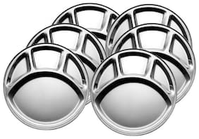 Partition Half 6 pcs;Stainless Steel Dinner Plates;18 cm