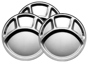 Partition Half 3 Pieces;Stainless Steel Dinner Plates;18 cm