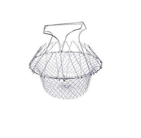 Passion Bazaar Foldable Basket Strainer Kitchen Tool for Cook Deep Fry Boiling Steaming Poaching Blanching Colander Rinse Solid Stainless Steel Net (Silver)