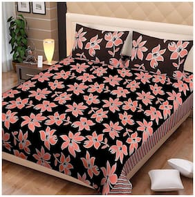 Spangle Microfiber Abstract Double Size Bedsheet 104 TC ( 1 Bedsheet With 2 Pillow Covers , Multi )