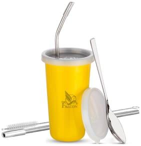 PddFalcon Stainless Steel Straw Glass Yellow 370ml