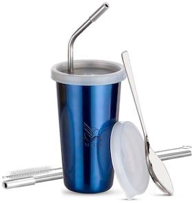 PddFalcon Stainless Steel Straw Glass Blue 370ml