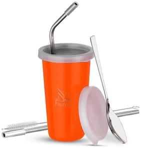 PddFalcon Stainless Steel Straw Glass Orange 370ml