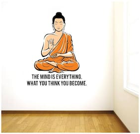 Rawpockets Wall Stickers  ' Peaceful Buddha and Quote on Mind '