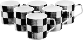 Pearl Check Carpet Fine Tableware Bone China Set of 6 For Home & Office, 180 ml