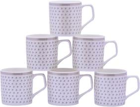 Pearl Glazer Fine Tableware Bone China Tea & Coffee Cups Set of 6 For Home & Office , 180 ml