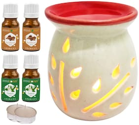 PeepalComm Ceramic Aroma Diffuser with 2 sandalwood 2 Jasmine Aroma Oil with 2 Tlight Candle Free for Home Office Hotel Spa