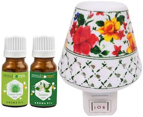 PeepalComm Electric Ceramic Aroma Diffuser with Lemongrass Jasmine Aroma Oil 10ml each for office home Spa Pack of 3