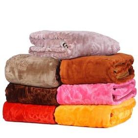 Peponi 1.6 Kg Multi color Embossed Design Single Bed Soft Mink Blanket Availble in Multicolor