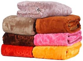 Peponi 1.6 kg Multi color Set of 2 Embossed Design Single Bed Soft Mink Blanket Availble in Multicolor