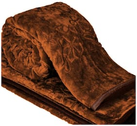 Peponi 1.7 Kg Floral Embossed Mink Single Bed Blanket for Heavy Winters - Brown