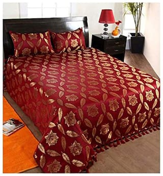 Peponi 140 TC Cotton Double Bedsheet with 2 Pillow Covers - Modern, Maroon and Gold