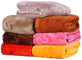 Peponi 2.5 kg Multi color Set of 2 Embossed Design Double Bed Soft Mink Blanket Availble in Multicolor