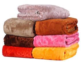 Peponi 2.5 Kg Multi color Set of 2 Embossed Design Double Bed Soft Mink Blanket Availble in Multicolor
