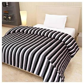 PEPONI Black & white Topmost Quality Fleece Heavy weight Single Bed AC Blanket/AC DOHAR/BEDSHEET-60x90inch