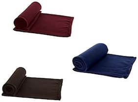 Peponi Pack of 3 Solid Color Single Bed AC Fleece Blanket ( Size :Single :60X90 inch )