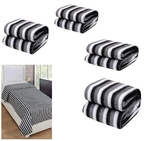 Peponi Pack of 6 Black and White Stripe Single Bed AC Fleece Blanket ( Size :Single :60X90 Inch )