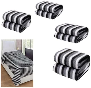 Peponi Pack of 6 Black and White Stripe Double Bed AC Fleece Blanket ( Size :Single :90X90 Inch )