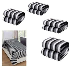 Peponi Pack of 3 Black and White Stripe Double Bed AC Fleece Blanket ( Size :Single :90X90 inch )