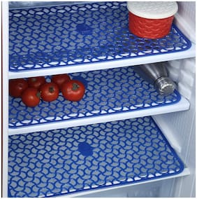 Peponi PVC 6 Piece Fridge Drawer Mat, 12X17 inch, Blue